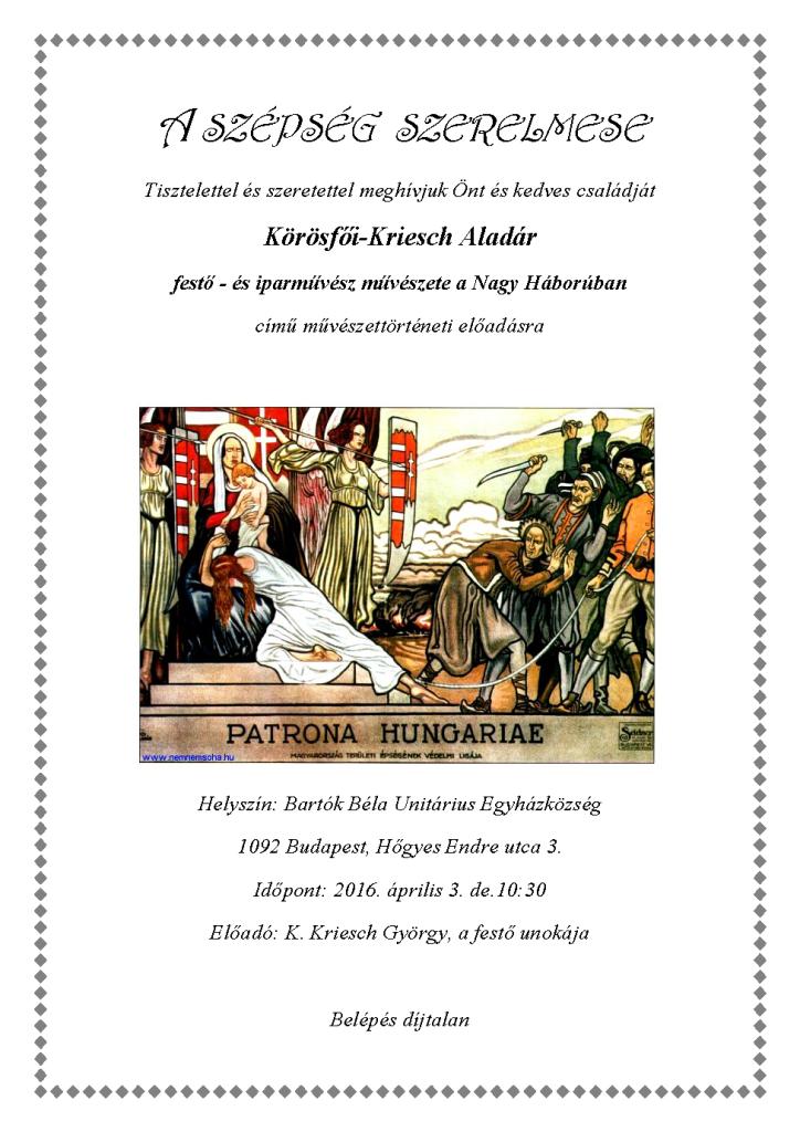 Unitárius Egyházközség plakát 20160403
