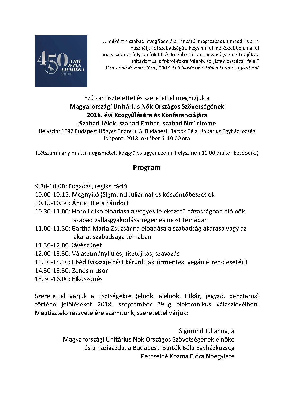 Meghívó MUNOSZ Közgyűlés 2018